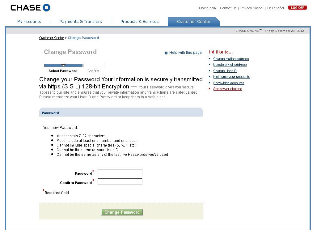 Chase Password Policy